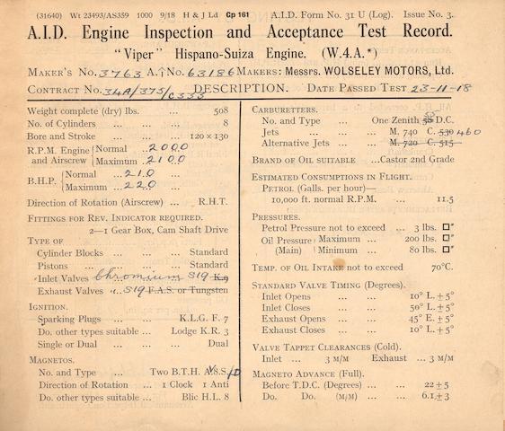 A 1918 Hispano-Suiza Viper W4A 210hp V8 Aero Engine,