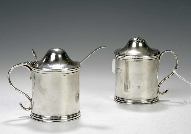 A George III Scottish silver mustard pot and matching kitchen pepper, by Patrick Robertson, Edinburgh 1769,