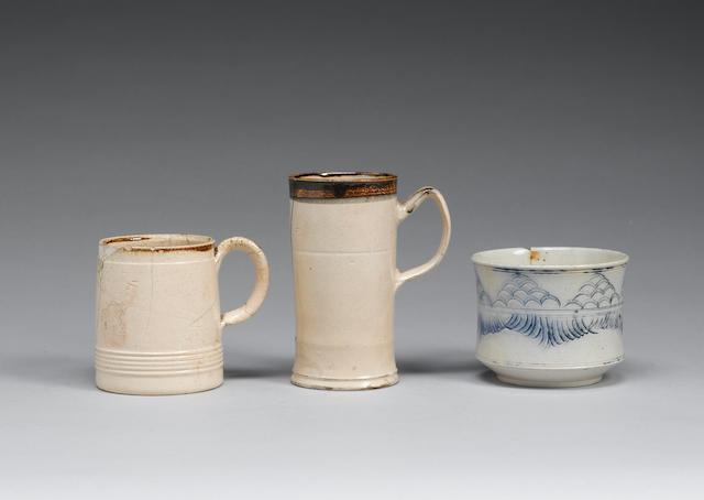 Two early salt-glazed mugs late 17th century