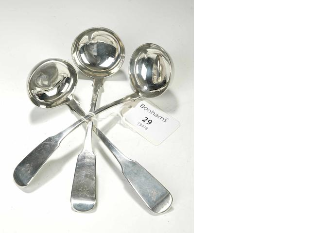 Three Toddy Ladles Makers mark of JA, Edinburgh 1831,