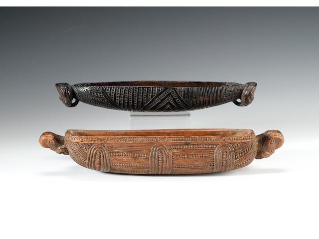 A slender Maori feather box 33cm. long, 6cm. high