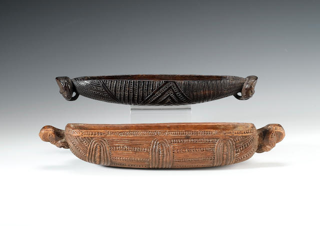 A slender Maori feather box 33cm. long, 6cm. high