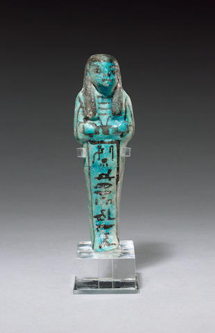 An Egyptian blue glazed composition shabti