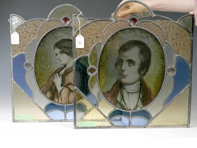 A pair of 19th century stained glass panels depicting Robert Burns and Clarinda