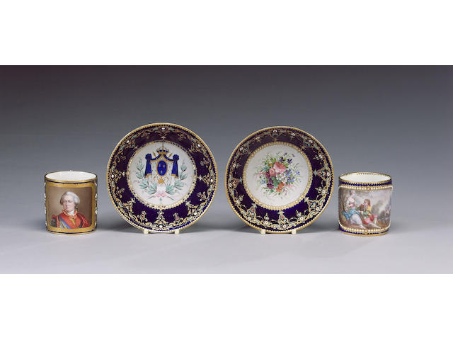 Two Sevres style 'jewelled' cabinet cups and saucers, circa 1870