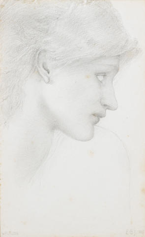 Sir Edward Coley Burne-Jones, Bt., ARA (British 1833-1898) Study of a female head for the left-hand watcher with trumpet for The Sleep of Arthur in Avalon 24 x 14.5 cm. (9 1/2 x 5 3/4 in.)