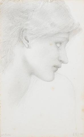 Sir Edward Coley Burne-Jones, Bt., ARA (British 1833-1898) Head study 24 x 14.5 cm. (9 1/2 x 5 3/4 i