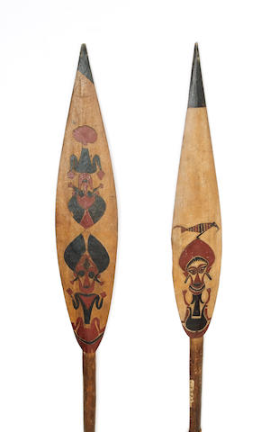 Two Solomon Islands wood paddles Buka or Bougainville Island 169cm. 2