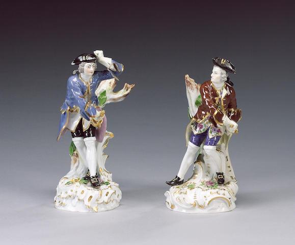 A pair Meissen figures of dandies, circa 1890