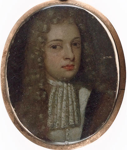 Flemish School, A Gentleman, wearing long powdered wig, lace jabot and brown robe