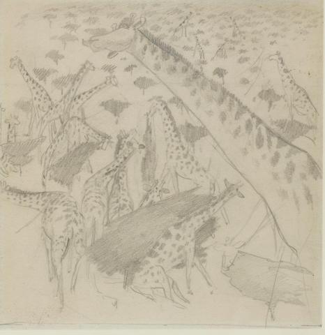 Sir Stanley Spencer R.A. (1891-1959) Giraffes 17.3 x 16.5 cm. (6 7/8 x 6 1/2 in.)