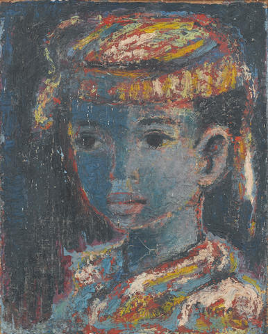 Gerard Sekoto (South African, 1913-1993) Portrait of a boy 41.5 x 33 cm. (16 1/4 x 13 in.)