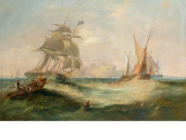 John Wilson Carmichael (British, 1799-1868) A three-masted merchantman and other traders caught in a