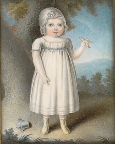 J. Phillips, A pair of portraits of Ambrose (1809-1903) and William Everet, both standing full-length; the former wearing white smock dress with blue ribbon waistband, his white bonnet with rosette, laced kid leather boots, a bird in his hand, a watering can on the ground behind; the latter wearing blue dress over matching pantaloons, laced black boots, a whip in his hand, both with landscape backgrounds