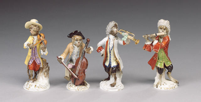 Four Meissen 'Monkey Band' figures and ten other Continental porcelain 'Monkey Band' figures