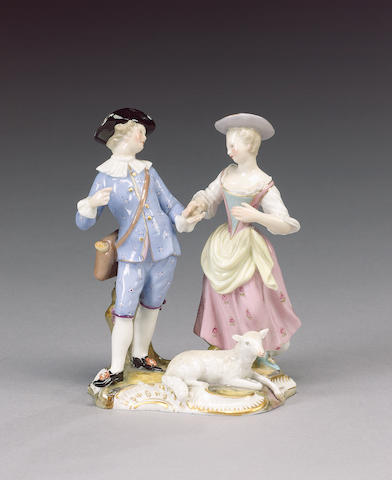 A Meissen group of a shepherd and shepherdess, mid 19th century