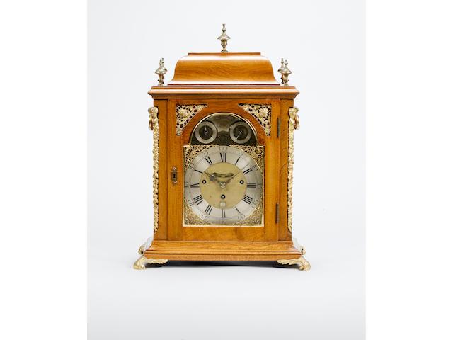 An early 18th century quarter chiming bracket clock in later oak case William Creak, London