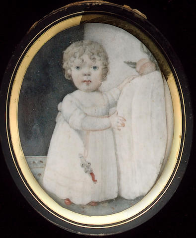 English School, Four miniatures: a Baby, dressed in white holding a coral rattle; a Child, with a gun in a landscape; a Lady, wearing white dress and bonnet and a Gentleman, wearing a blue coat