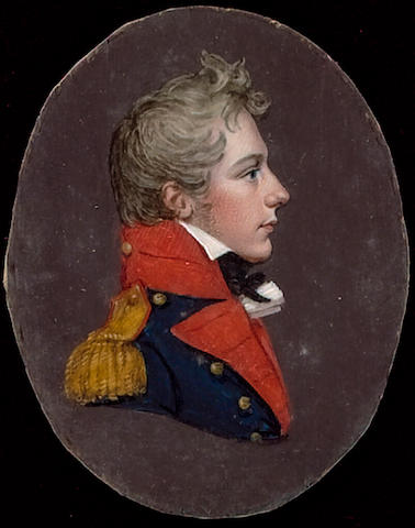 English School, A junior Officer of the Royal Regiment of Artillery, profile to the right, wearing blue coat with red facings and gold epaulette