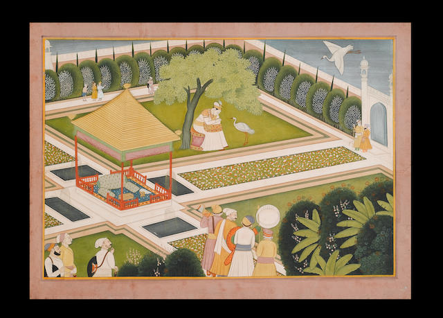 An illustration to a Nala and Damayanti series: Nala listening to a swan sent by Damayanti in a palace garden, the scene watched by courtiers and bearers Kangra, circa 1810