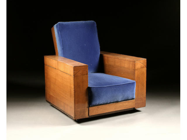 "A most unusual 20th Century walnut-framed metamorphic ""cabinet"" easy chair by Waddingtons of Bolton"