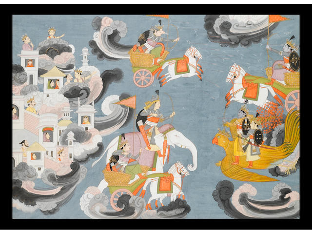 An illustration to the Harivamsa: Krishna riding Garuda accompanied by his son Pradyumna with Arjuna in a horse-drawn chariot in battle with Indra astride his white elephant, courtiers and their wives seated in a palace floating on clouds Kangra, attributed to Purkhu, circa 1800-1820