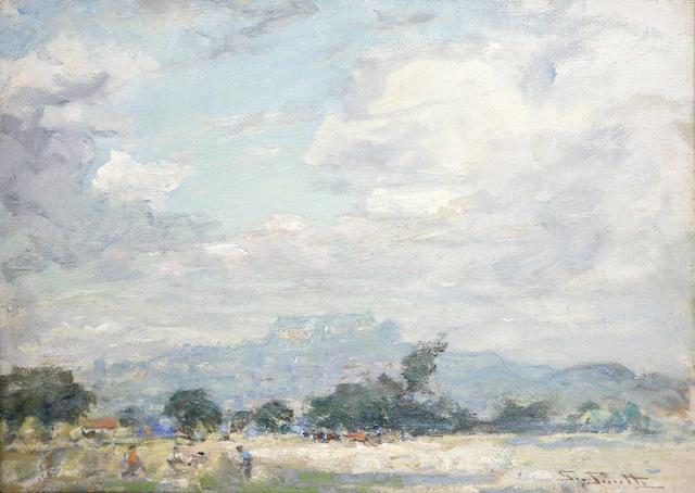 George Smith RSA (1870-1934) Haymaking below Stirling Castle 30 x 40cm (12 x 16ins)