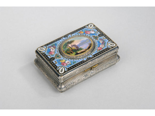 A fine 19th Century Swiss enamel and engine turned singing bird box unmarked,