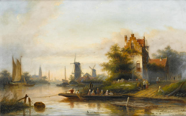 Jan Jacob Coenraad Spohler (Dutch 1837-1923) The ferry for Haarlem 43 x 67.5 cm. (17 x 26 1/2 in.)