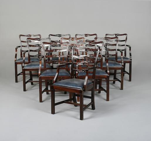 A set ten Georgian style dining chairs