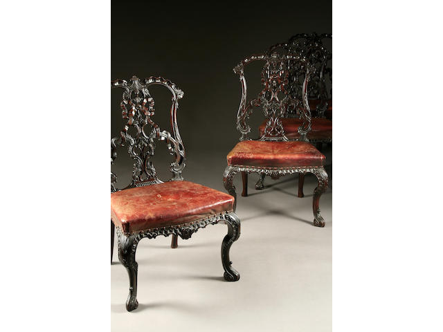 A fine set of six Edwardian mahogany Chippendale-style ribbon-back dining chairs, formerly the property of Lady Brougham and Vaux