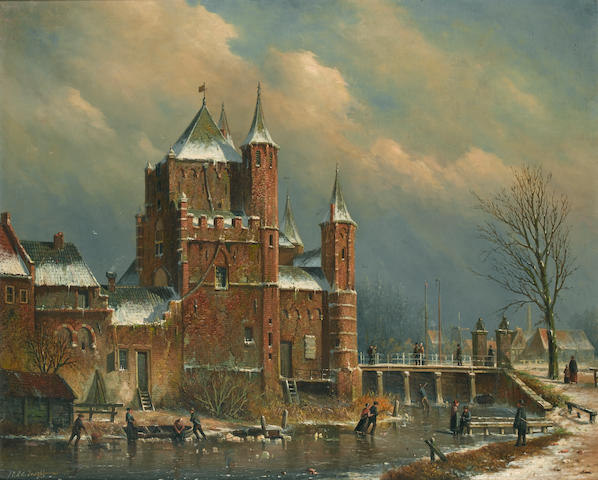 Oene Romkes de Jongh (Dutch 1812-1896) The Amsterdam Gate at Haarlem 71 x 86.5 cm. (28 x 34 in.)