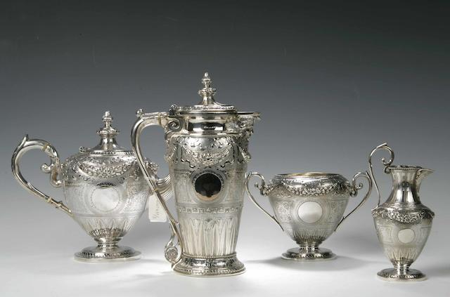 A Victorian four piece Tea Service By Mackay, Cunningham & Co, Edinburgh 1871,