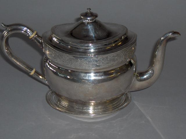 A George III teapot on stand by Alexander Field, London 1805,