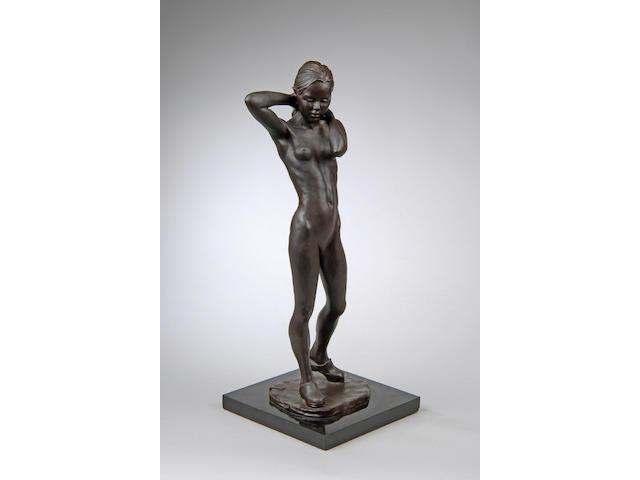 Enzo Plazzotta (Italian 1921-1981): A bronze life study of a young girl,