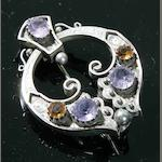A silver, amethyst and citrine Hunterston-style Brooch