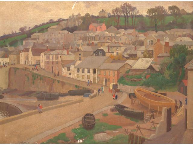 Ernest Procter (British, 1886-1935) Cornish Fishing Village