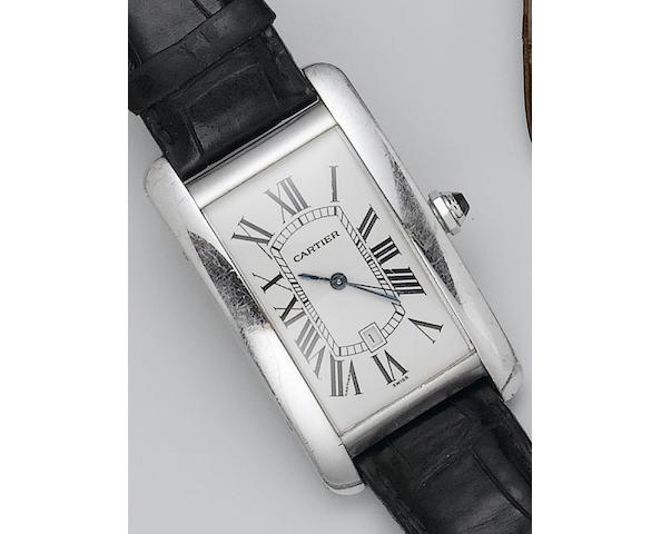 Cartier. An 18ct white gold calendar rectangular cased wristwatch Tank, 1990's