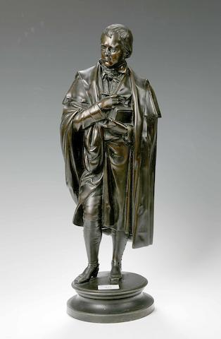 A 19th century patinated spelter figure of Sir Walter Scott