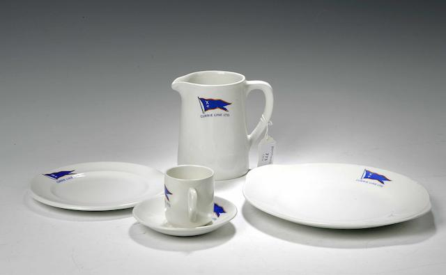 A dinner service of The Currie Line shipping company