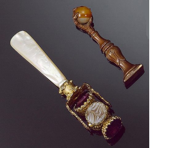 A 19th century mother of pearl and gilt metal mounted rotating seal, and twelve further items