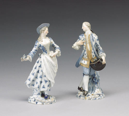 A pair of Meissen figures of a dandy and companion, circa 1870