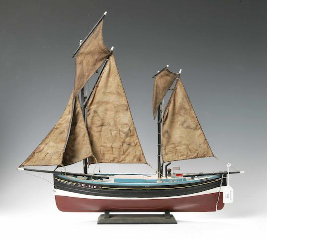 An early 20th century model of a Scottish herring boat