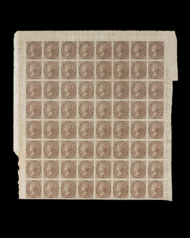 India: 1856-64 1a. brown unused imperforate block of 64 with good margins and showing marginal inscriptions, some slight staining but a rare block SG cat. £24,000 (623)