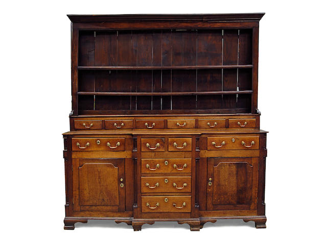 A good late 18th Century oak and elm high dresser