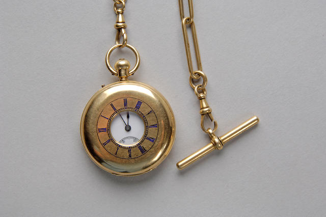 An early 20th century 18 carat gold half hunter pocket watch together with an 18 carat gold chain Upjohn Bright & Wood, 15 King William St