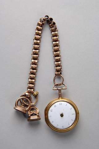 An 18th century gold pair cased pocket watch J & F Jackson, London, No 1907