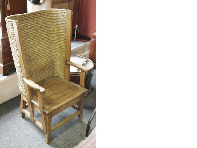 A late 19th/ early 20th century pine Orkney armchair