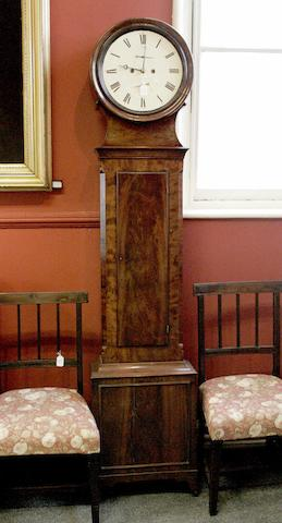 An early 19th century mahogany drumhead longcase clock signed * THOMSON & **  indistinctly