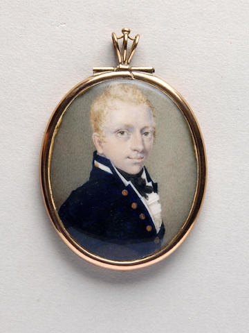 Circle of Peter Paillou (c.1757-after 1831) A young naval officer, having fair hair and wearing blue uniform, white shirt and black stock oval 65mm, in gilt metal frame, with glazed compartment to reverse.
